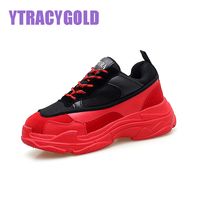 YTRACYGOLD Hot Casual Shoes Women Slimming Platform Shoes Zapatillas Mujer Comfortable Lace Up Sneakers Women Flat