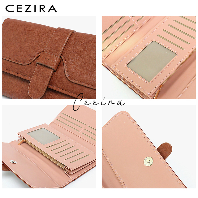 CEZIRA Long Wallet Buckle Ladies Wallets Female Clutch Credit Card Holders Cellphone Multi Pockets Purse Faux Leather Wallets 2