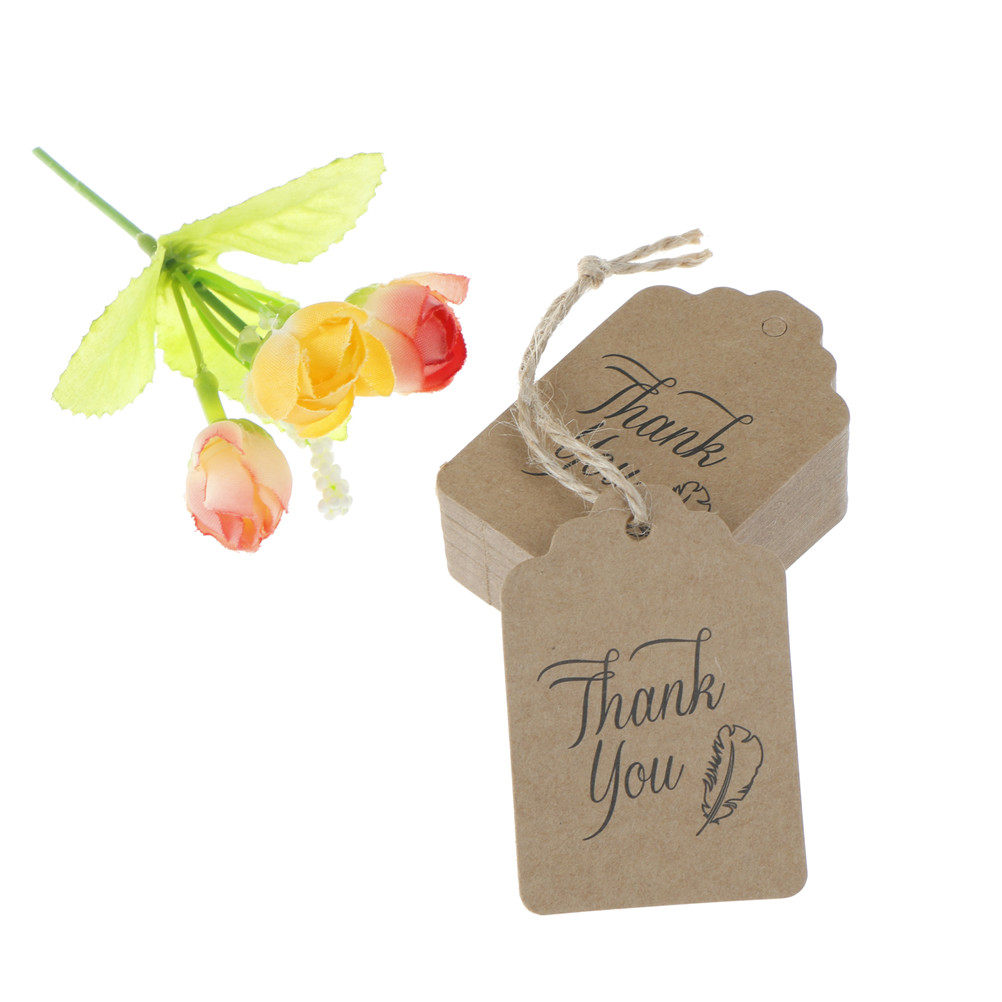 Thank You Message Wedding Gift: 50pcs 4.5*6.7cm Brown Paper Tags Thank You Head Label