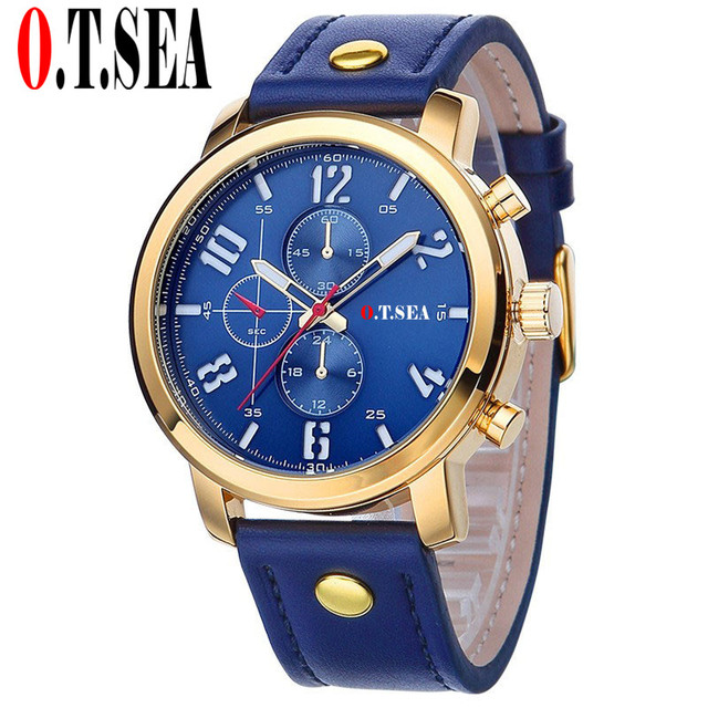 Hot Sales O.T.SEA Brand Soft Leather Watches Men Military Sports Quartz Wristwatches Relogio Masculino 8192 3