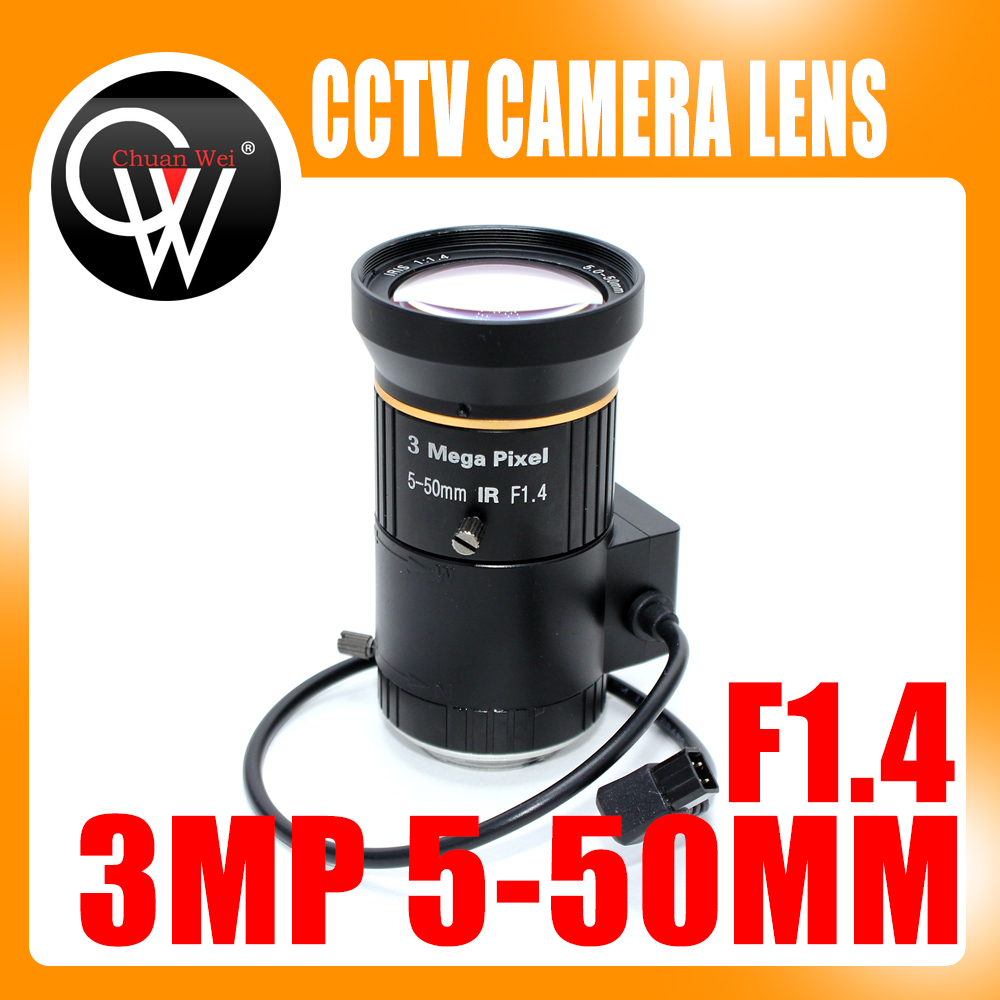 3.0Megapixel Varifocal HD CCTV Camera/ITS Lens 5-50mm CS Mount With Manual iris F1.4 For industry CCTV IP Camera 8mm 12mm 16mm cctv ir cs metal lens for cctv video cameras support cs mount 1 3 format f1 2 fixed iris manual focus