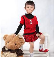 Girls Autumn Sweater Dress 2016 New Fashion Winter Warm Long Sleeve Tutu Dresses Kids Red Pink