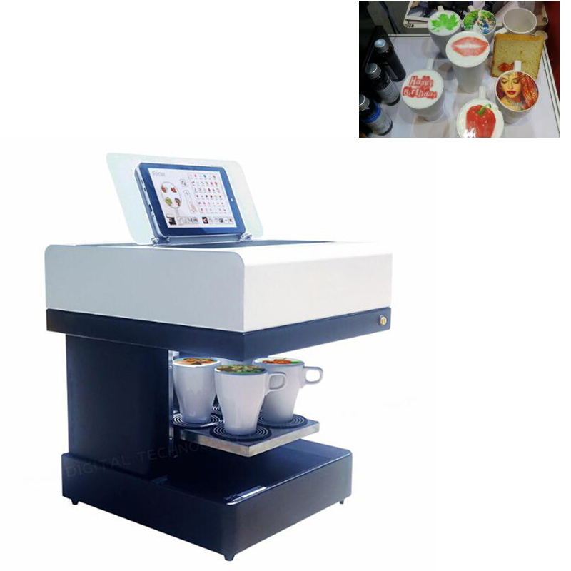 Commercial 4 Cup Coffee Pinter Machine Food Drinks Edible Printer USB Connection Selfie Milk Tea Chocolate Printing Machine
