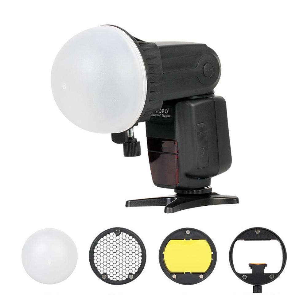Yongnuo Speedlite Gel de Color con Kit de Adaptador de Montaje Universal para Godox Triopo MagDome Kit con difusor Sony Rejilla de Panal Canon Nikon