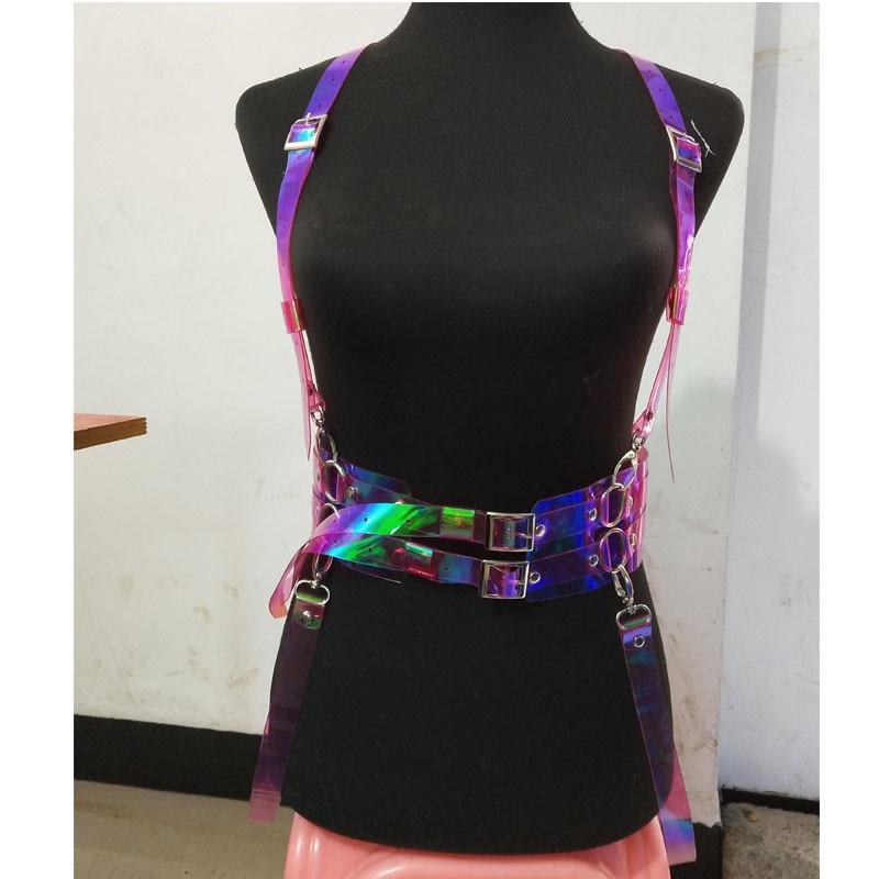 Punk Gothic Handmade Leather Transparent Clear PVC Red VInyl Halter Choker Harness Body Bondage Waist Belt Straps