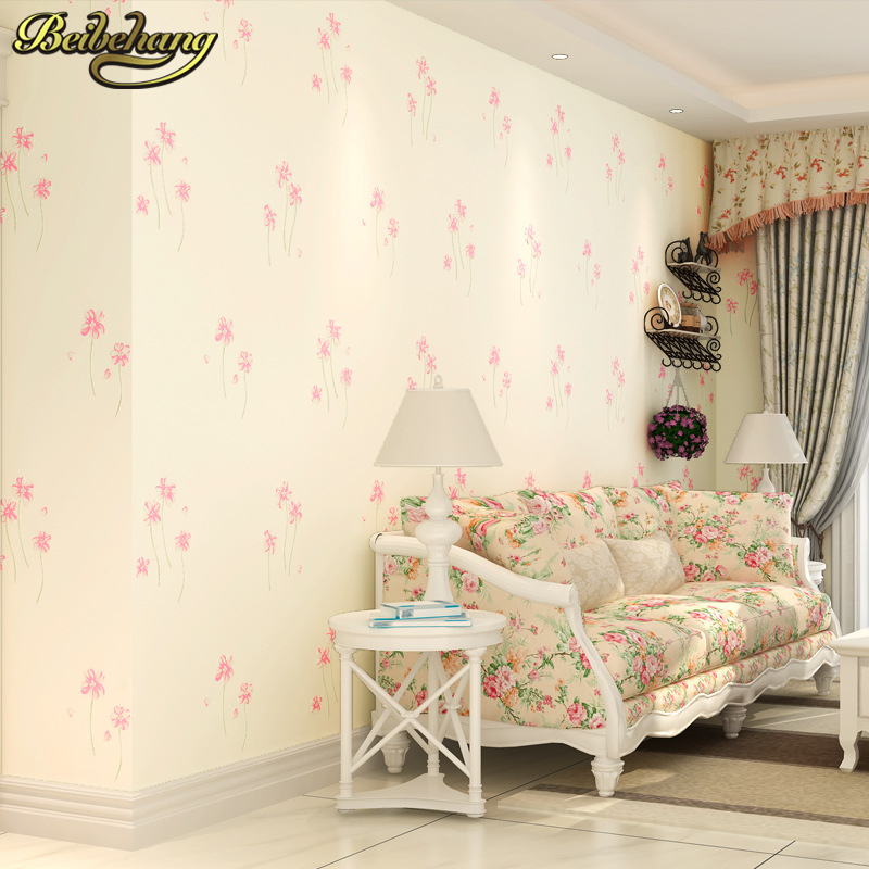 все цены на beibehang Warm pastoral flowers Modern 3D flooring Wallpaper roll Papel De Parede Photo For Wall paper Mural Living room Bedroom онлайн