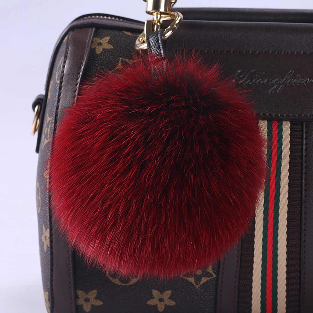 Moda 15 cm Grande Tamanho Real Pele De Raposa Bola Chaveiro Chaveiro Carro Fox Fur Real Pom Poms Pompons De Peles chaveiro Para O Saco de Charme Pingente