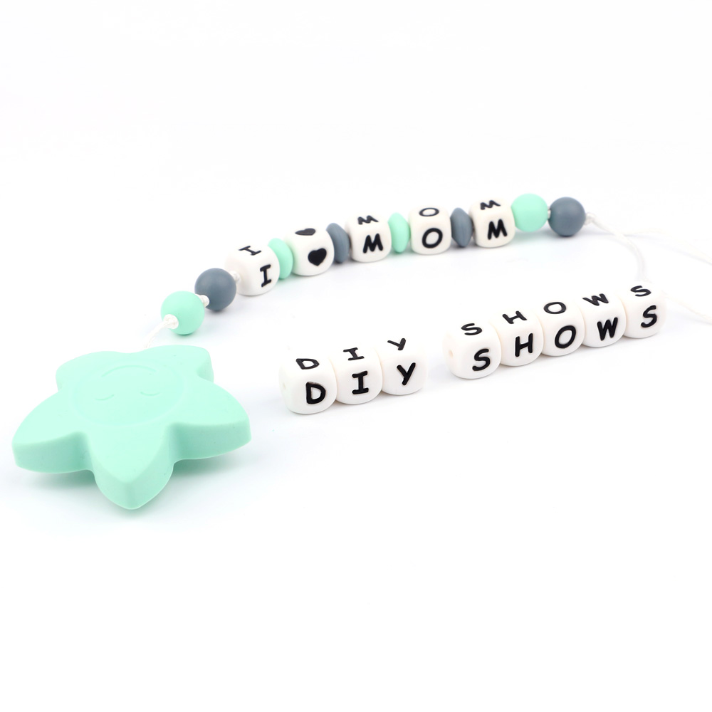 TYRY.HU 100pcs English/Russian Letters Beads Food Grade 12mm Silicone Letter Beads Baby Teething Necklace Pendant Baby Teethers