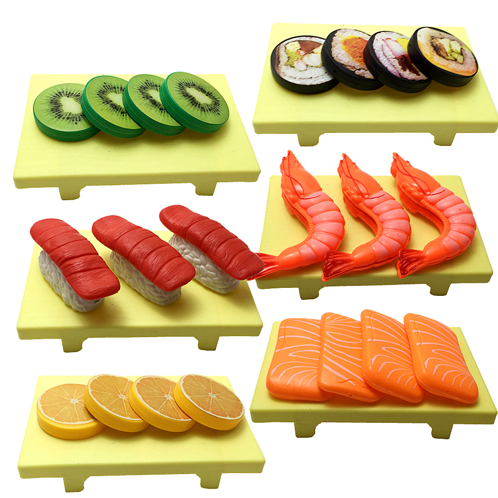 Children Kitchen Cutting Toys Sushi, Fish, Beef, Shrimp Pretend Play Plastic Miniature Food Girls Kids Education Toy Gift