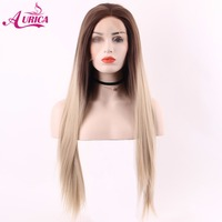 Aurica Ombre Blonde Heat Safe Synthetic Hair Lace Front Wig With Long Brown Roots For Women