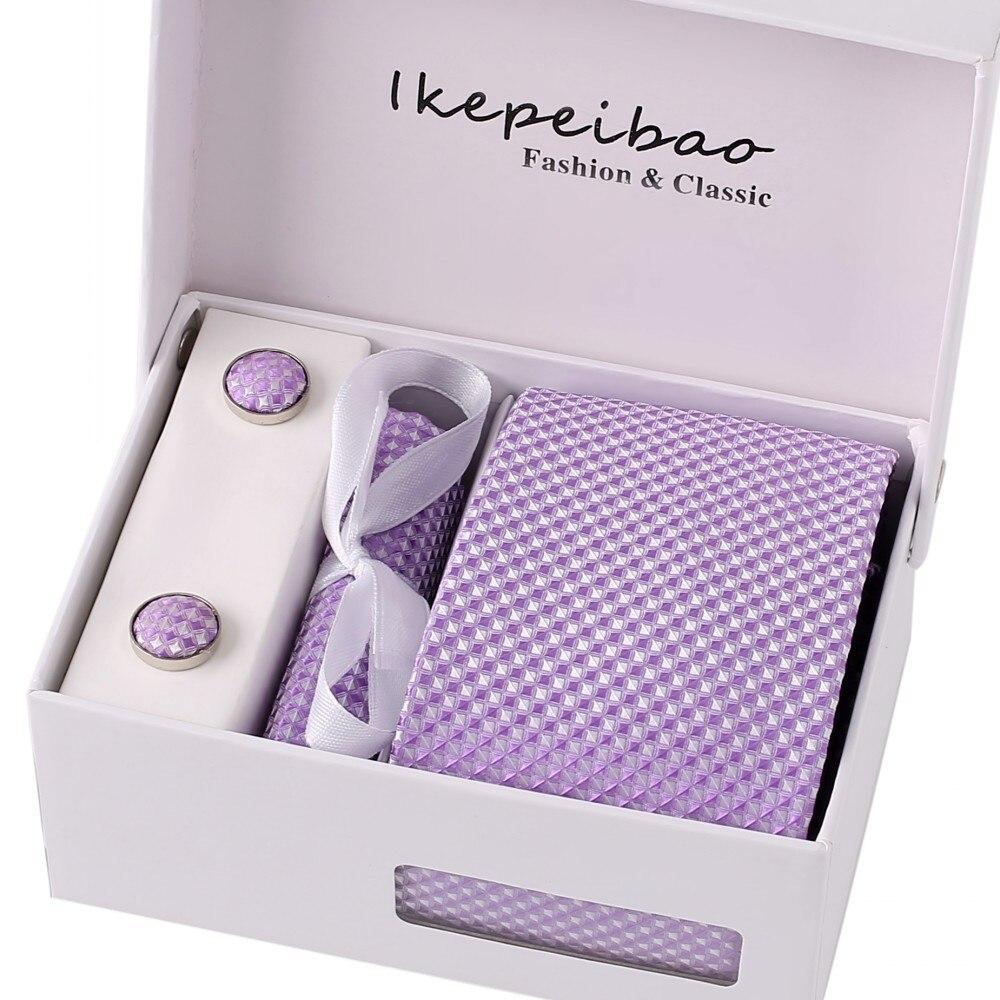 Ikepeibao Homens Da Marca Personalizado Conjuntos de Pontos Azuis Gravata Abotoaduras Laços Roxo Verificado Lenços com Embalagem Da Caixa de Presente