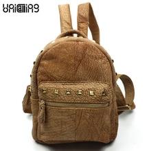 Новый стиль, модные заклепки женский рюкзак из коровьей кожи в стиле ретро рюкзаки для девочек-подростков универсальные натуральная кожа рюкзак женщины