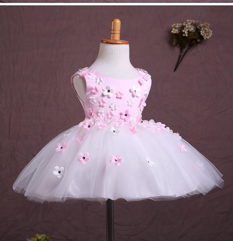 flower     girl     dresses   for weddings Pink Flowes beaded cheap pink   flower     girl     dresses   vestidos de comunion para ninas 2017