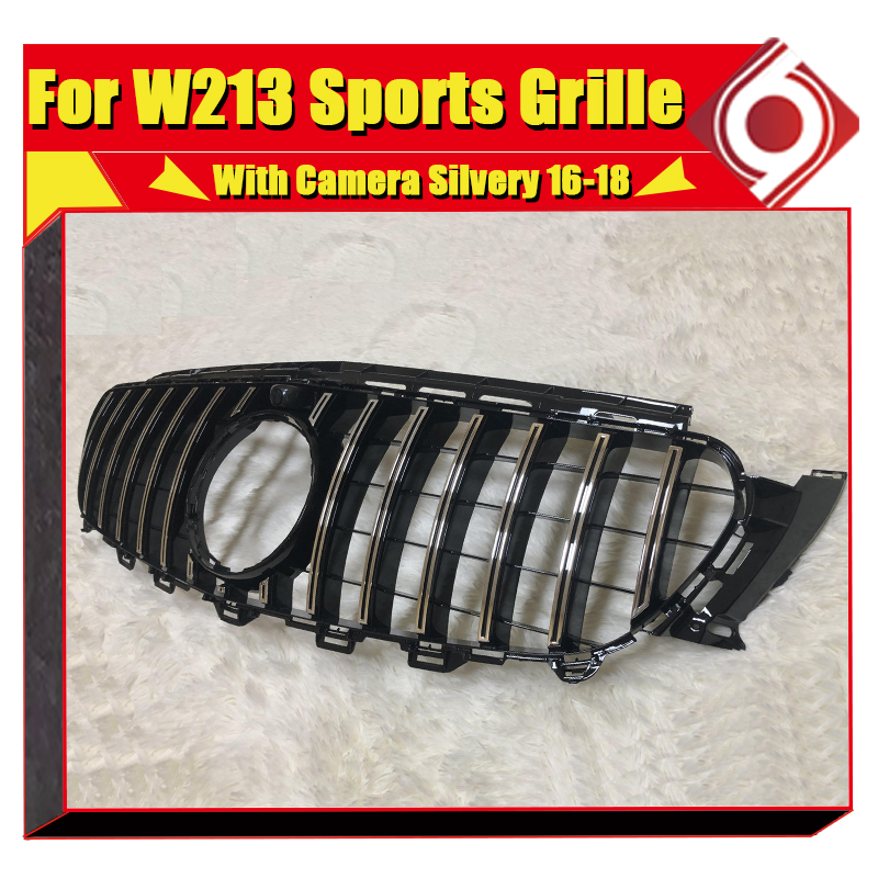 GTS Grill grill W213 Silver With camera Fits For MercedesMB E180 E250 E300 E Class Front Bumper Kidney Grills without sign 16 18 in Racing Grills from Automobiles Motorcycles