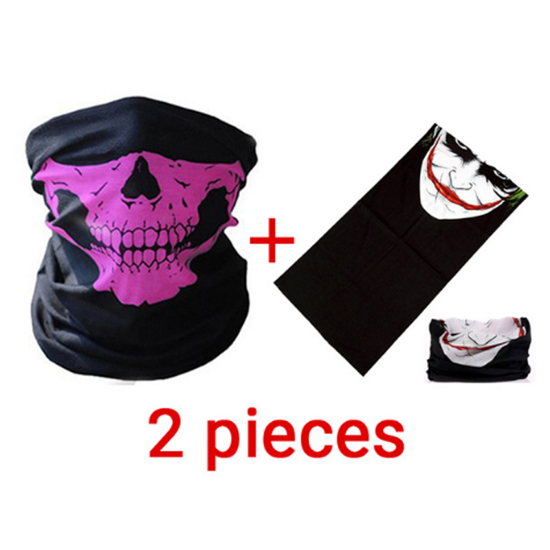 Riding Mask Bicycle Training Mask Summer 2 Pieces Skull Ghost Maske Biker Motor Face Shield Windproof Outdoor Face Masks Scarf new halloween skull skeleton outdoor motorcycle bicycle multi function headwear hat scarf half face mask cap neck ghost scarf