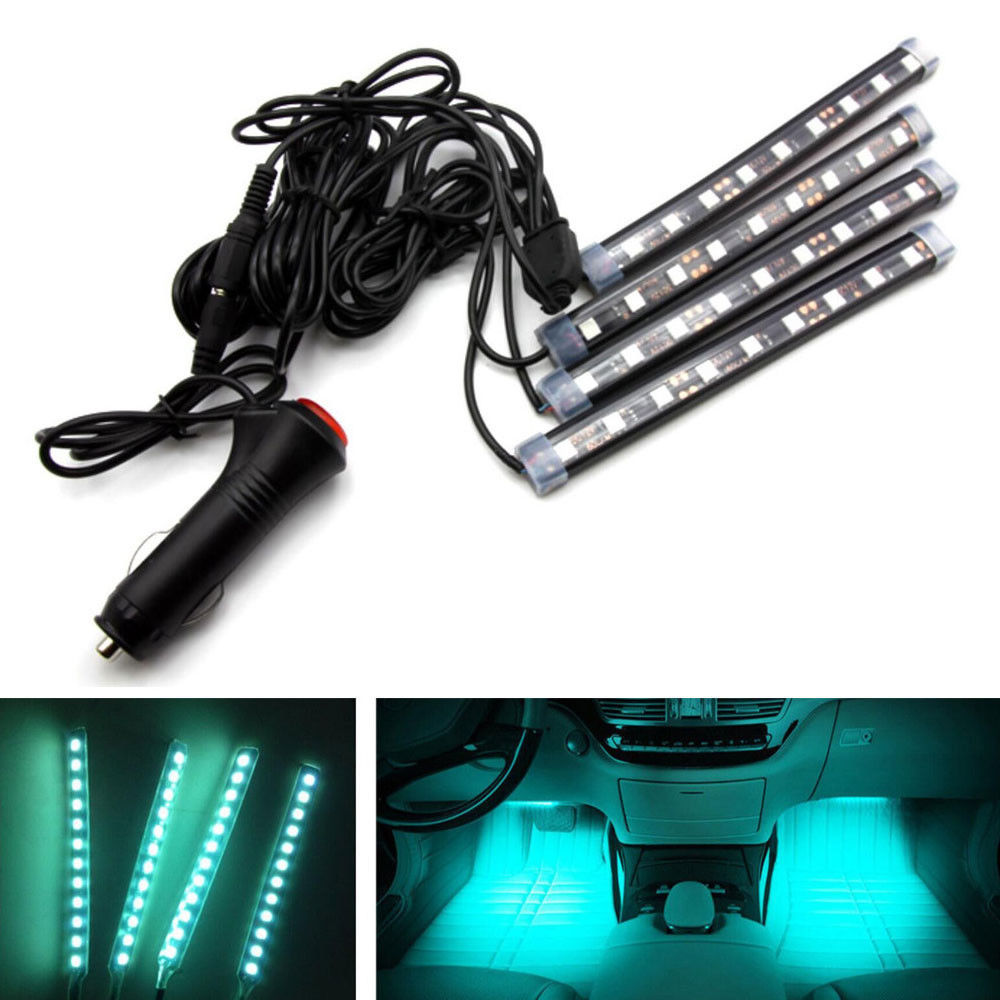 BBQ@FUKA 4Pcs/set 12LED Light Blue Interior Car SUV Footwell Atmosphere Neon Light Bar Fit for 3500 HD Suburban Tahoe Traverse  рубанок hitachi p20st