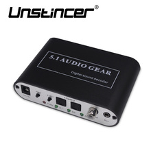 UNSTINCER Digital 5.1 Audio Gear Decode Dolby Dts/ac-3 Optical To 5.1-Channel RCA  Analog Sound Spdif Decoder Stereo