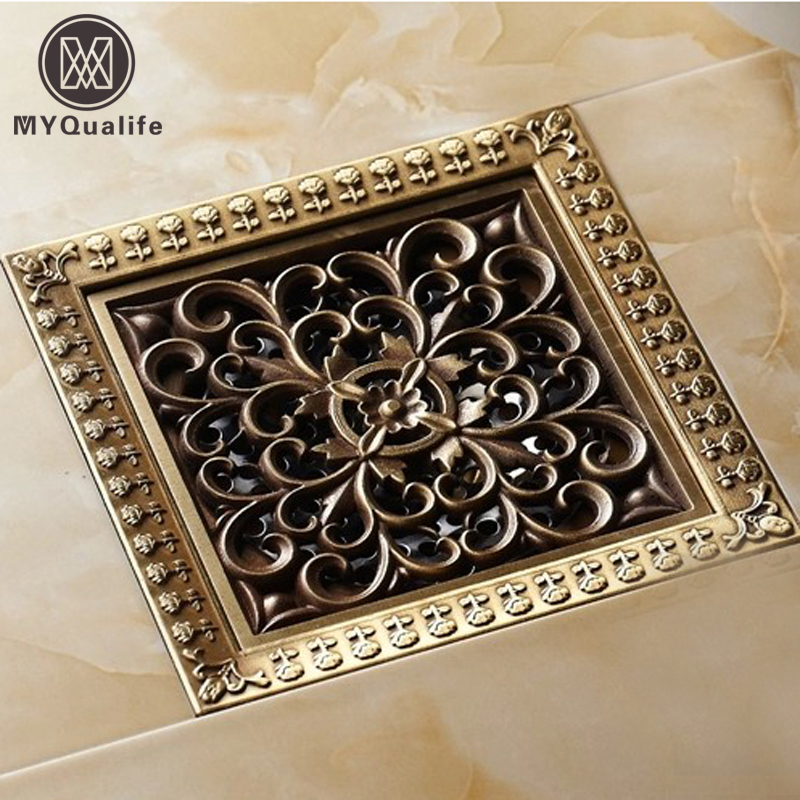 Free Shipping Wholesale And Retail New Antique Brass Bathroom Waste Grate Floor Drain 12cm Bath Floor Waste Drainer деревянный щит три богатыря красный