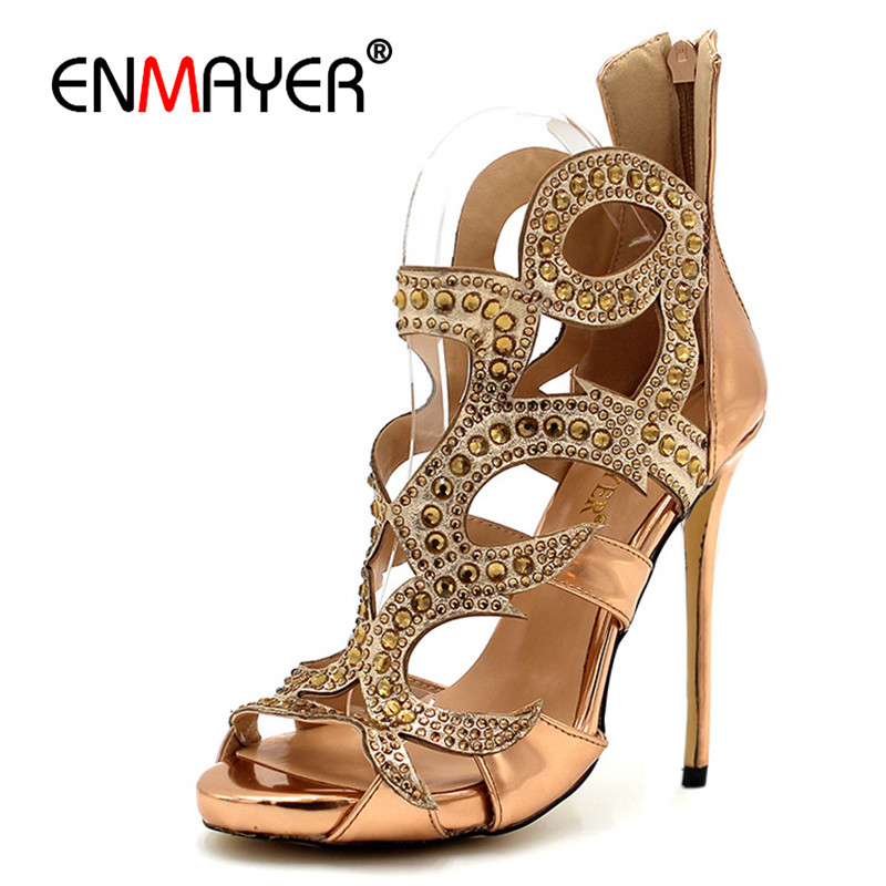 ENMAYER Cover Heels Extreme High Heels Bling Gold Shoes Women Urban Sexy Summer Women Pumps Party Zippers Open Luxury Plus Size enmayer cross tied shoes woman summer pumps plus size 35 46 sexy party wedding shoes high heels peep toe womens pumps shoe