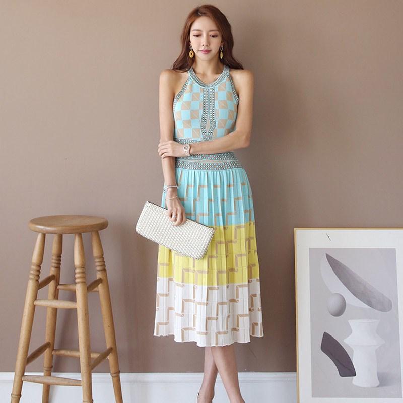 Женское летнее трикотажное платье без рукавов в стиле бохо, сексуальное платье с высокой талией и лямкой на шее, повседневное разноцветное
