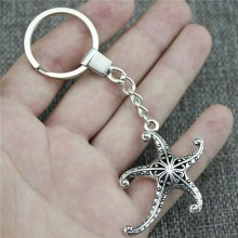 Keyring 3D Hollow Starfish Keychain 45x43mm Antique Bronze Silver Key Chain Partys For Women