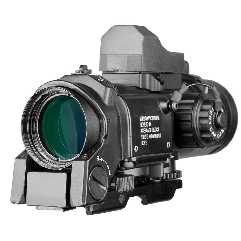 Combinatie Tactische 1X-4X Dual Rol Optic Sight Rifle Airsoft Magnificate Scope Jacht Scopes Sniper Red Dot Ak 47 Riflescope