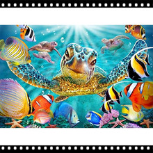 5D Diy Diamond Painting Cross Stitch Painted sea turtle Home Decor Full drill Rhinestones Mosaic Inlay Diamond Embroidery YF695 5d diy diamond painting cross stitch cartoon home decor full rhinestones mosaic inlay diamond embroidery