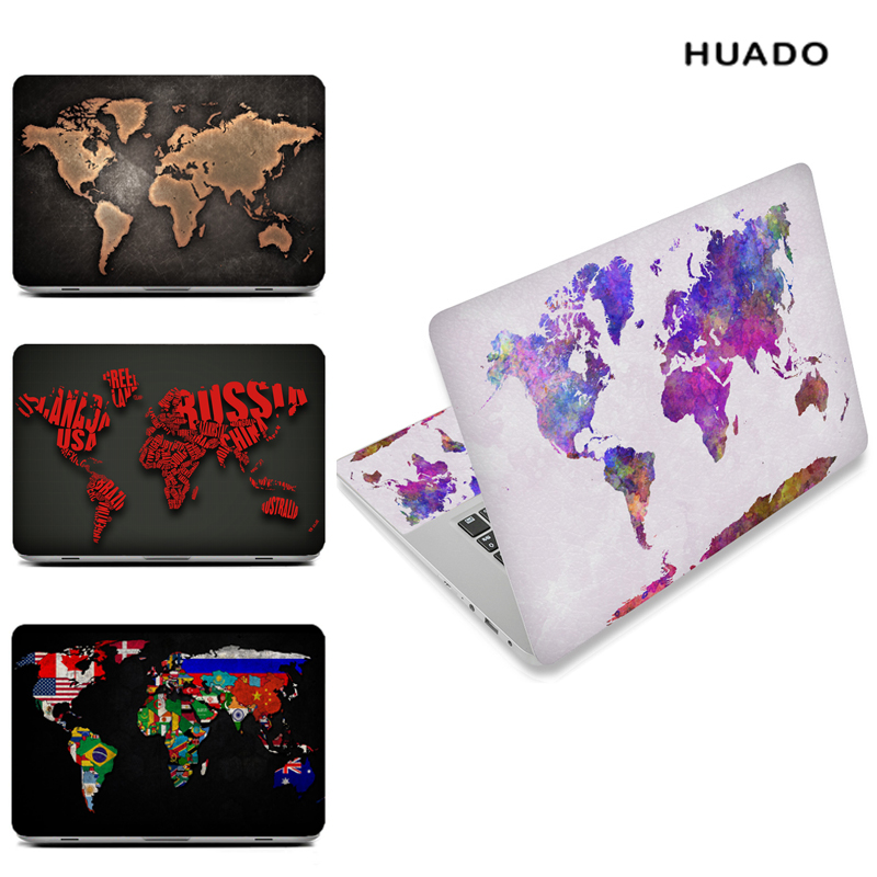 World map Laptop Skin Decal Sticker Cover PVC Notebook Reusable Protector for Macbook/ Lenovo/ HP/ ASUS/ ACER world map wall sticker