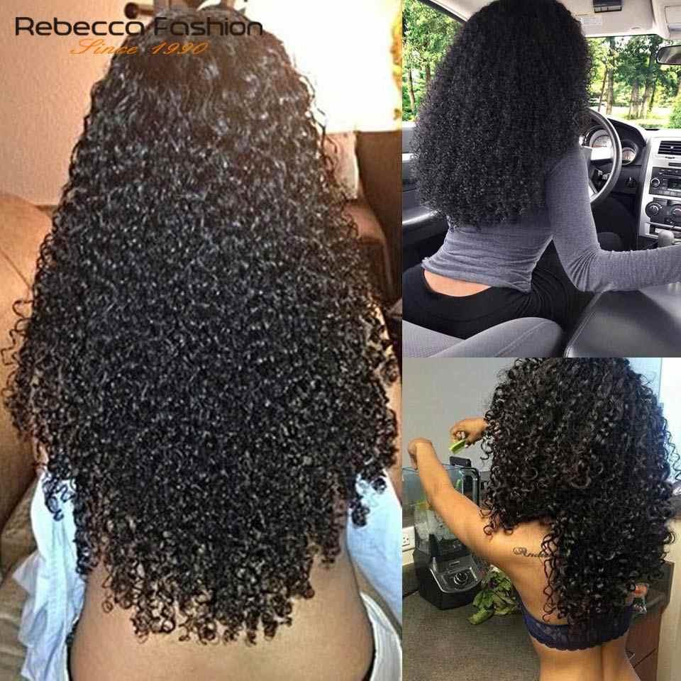 Rebecca 4X4 Spitze Front Menschliches Haar Perücken Für Schwarze Frauen Peruanische Remy Lockiges Haar Spitze Vorne Perücke 14 16 20 zoll Kostenloser Versand