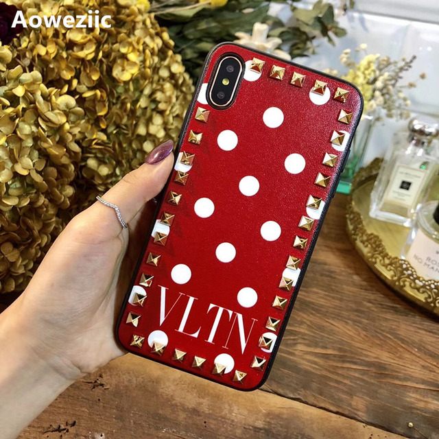European and American fashion rivets for iPhoneX XS MAX XR 11Pro mobile phone case 6s 7 8plus all inclusive soft leather tide