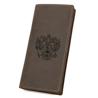 Custom Name Vintage Long Wallet Men CCCP Wallets Card Holders Brand Leather Zip Coin Purse Engraved Russian Eagle Wallet
