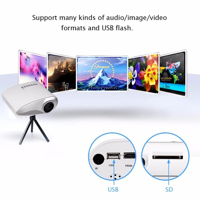 Portable RD 802 Mini LED projector Home Multimedia Cinema LED 1080P Projector HDMI/AV/VGA/SD/USB/TV proyector LED White
