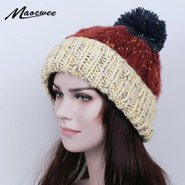 Women Skullies Winter Pompom Hat Beanies Knitted Hip Hop Beanie Stocking Hat  Skull Bonnet Women s Winter 385f6938d9b