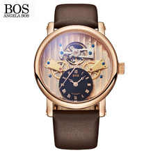 ANGELA BOS Unique Gear Three dimensional Skeleton Sports Automatic Watch Mens Mechanical Top Brand Man Watches