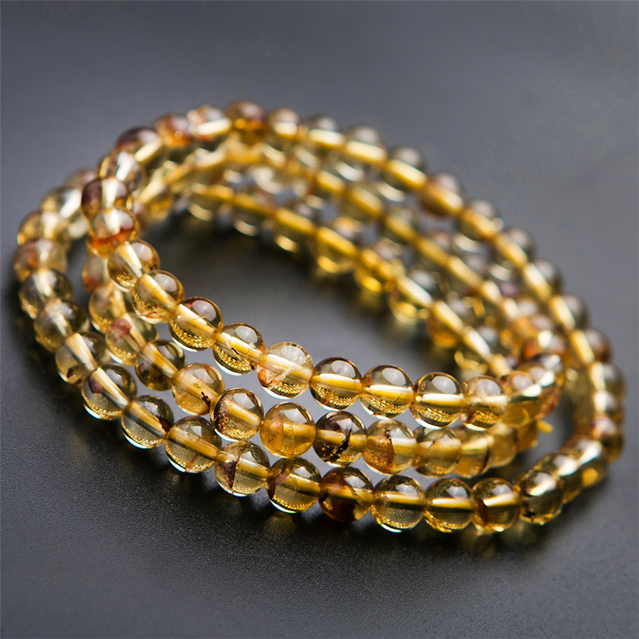 Natural Citrine Bracelet Quartz 100%Genuine Crystal Women Yellow 6mm Round for Female