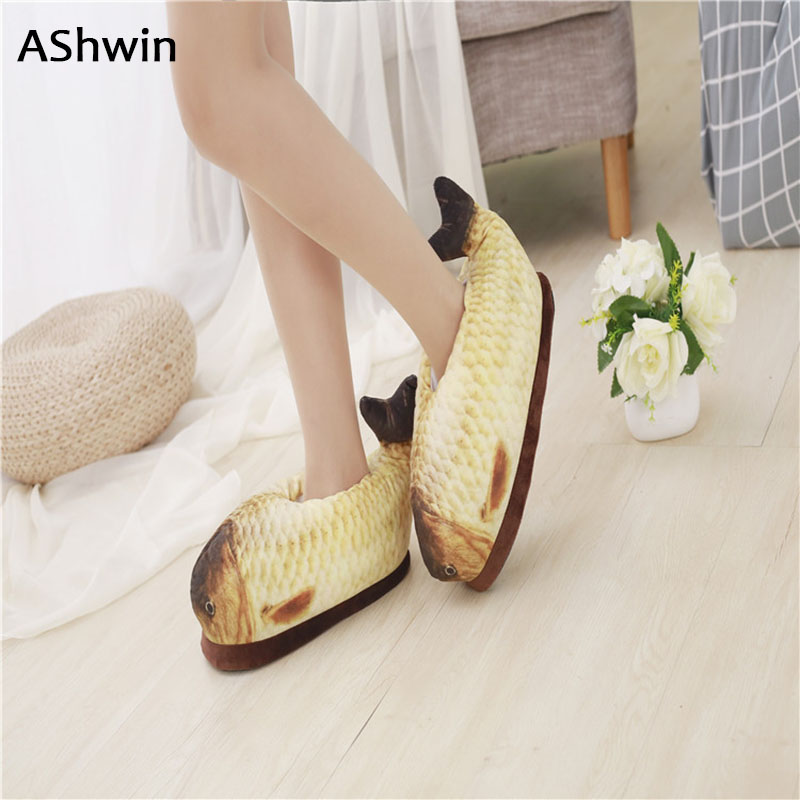 AShwin winter cotton slippers men women down slippers home shoes flats warm thermal plush shoes stylish fish shoes free size fashion womens shoes warm winter cotton shoes tennis feminino casual girl shoes comfortable ladies flats long plush women flats