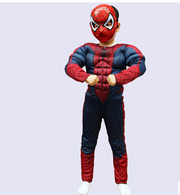 3 sizes fnt Child size Deluxe Muscle Chest Spider-Man Costume with Web Wings