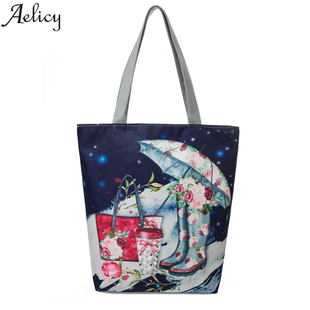 Aelicy Colorful National Wind Printed Tote Handbag Women Daily Use Female Shopping Bag Large Capacity Canvas Shoulder Beach Bag tote bag