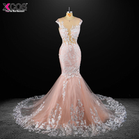 Romantic Scoop Neck Long Lace Mermaid Wedding Dress Appliques Princess Vestido De Novia Backless Robe De