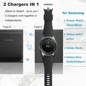 Image 3 - Wireless Charger Stand for Samsung Galaxy Watch active Buds Gear S2 S3 S4 Sport Mobile Phone Fast QI Wireless Charger Pad 10W