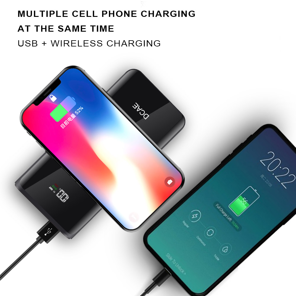 DCAE 10000mAh QI Wireless Charger Power Bank Portable External Battery Powerbank For iPhone XS Max XR X 8 Samsung S9 S8 Xiaomi 5