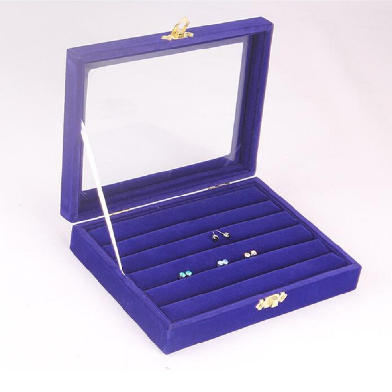 Jewery Organizer Box Rings/Earrings Storage Gift Box DIY craft Display Case Package Rack Suede glass cover clear