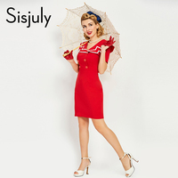 Sisjuly Summer Women Vintage Bodycon Dress 1950s Style Solid Red Button Women Dresses Sailor Collar Female