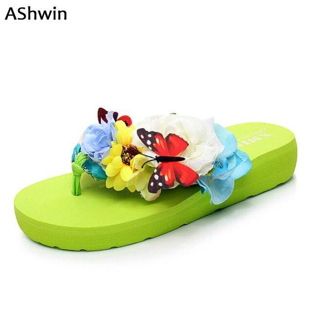b42a314bf6617d fashion women sandals fancy beach flip flops summer flower butterfly  platform thong slipper seaside shoes comfort walking shoes