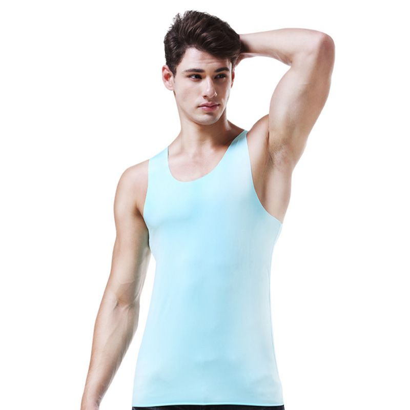 Ice Silk Men Undershirts High Quality Comfy Fitness Elastic Basic O Neck Sleeveless Male Tank Tops Plus Size L XL XXL XXXXL