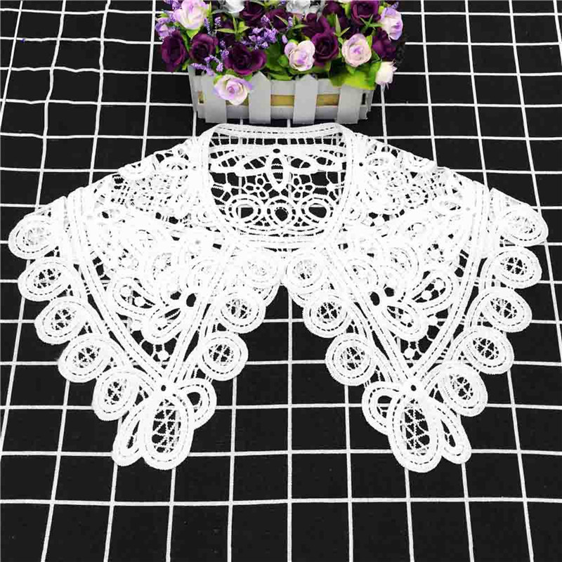 White Milk Silk Big Collar Flower Korean Women's Hollow Lace Detachable Lapel Shirt Fake Collar Women Clothes Accessories