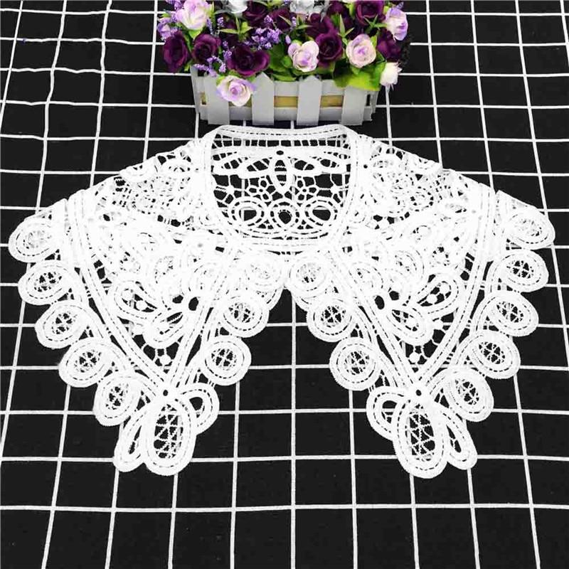 White Milk Silk Big Collar Flower Korean Women's Hollow Lace Detachable Lapel Shirt Fake Collar Women Clothes Accessories