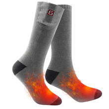 Winter breathable elastic thickened cotton 2.4v rechargeable battery outdoor sports electric warming heating socks women men