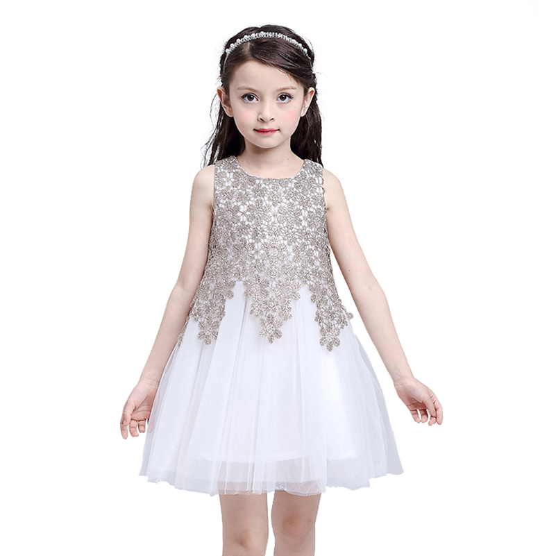 Mudkingdom Girls Flower Dress Lace Summer Ball Gown Princess Dresses Little Girl Formal Wedding Party Clothes Kids Clothing summer kids girls lace princess dress toddler baby girl dresses for party and wedding flower children clothing age 10 formal