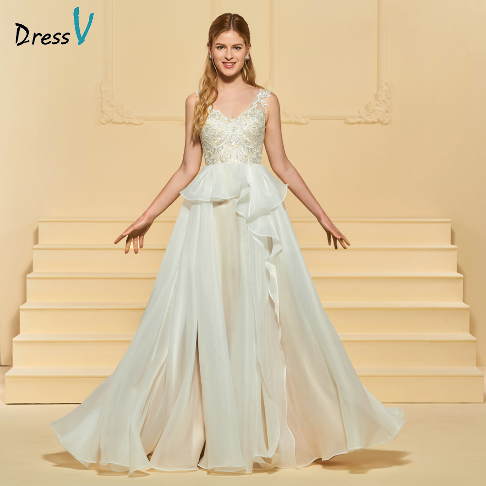 Wedding Gowns With Ruffles: Dressv Elegant A Line Wedding Dress V Neck Appliques